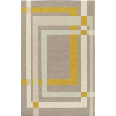 Kismet Color Forms Hand-Tufted Modern Yellow/Cream Area Rug Rug Size: Rectangle 5 x 76