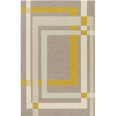 Kismet Color Forms Hand-Tufted Modern Yellow/Cream Area Rug Rug Size: Rectangle 8 x 10