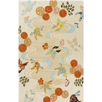 Kismet Chinese River Hand-Tufted Orange/Cream Area Rug Rug Size: Rectangle 5 x 76