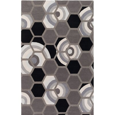 Kismet Honeycomb Hand-Tufted Silver/Black Area Rug Rug Size: Rectangle 8 x 10