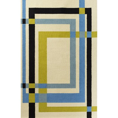 Kismet Color Forms Hand-Tufted Modern Olive/Blue Area Rug Rug Size: 2' x 3'