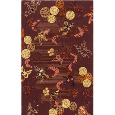 Kismet Chinese River Hand-Tufted Burgundy/Brown Area Rug Rug Size: 2' x 3'