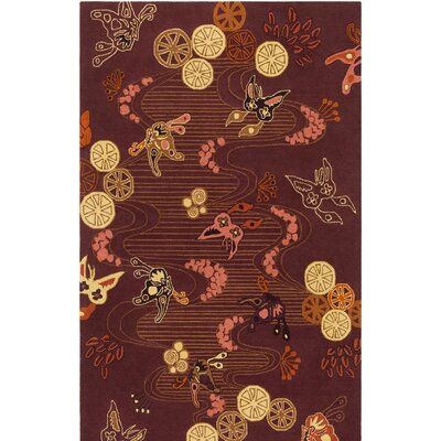 Kismet Chinese River Hand-Tufted Burgundy/Brown Area Rug Rug Size: Rectangle 5 x 76