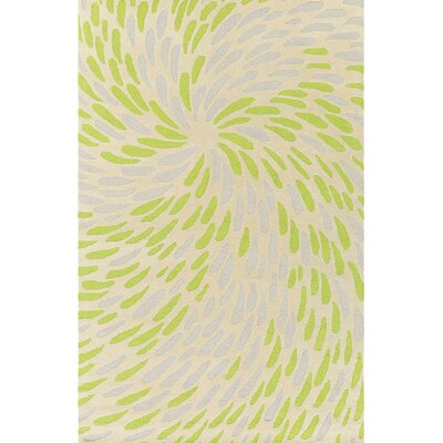 Flying Colors Eye of the Storm Hand-Tufted Cream Area Rug Rug Size: Rectangle 5 x 76