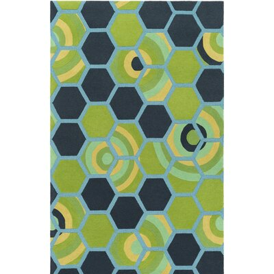 Kismet Honeycomb Hand-Tufted Green/Blue Area Rug Rug Size: 5 x 76
