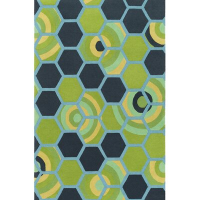 Kismet Honeycomb Hand-Tufted Green/Blue Area Rug Rug Size: 8 x 10