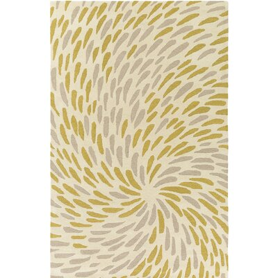 Flying Colors Eye of the Storm Hand-Tufted Cream Area Rug Rug Size: 2 x 3