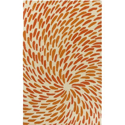 Flying Colors Tufted Beige/Orange Area Rug Rug Size: 2 x 3