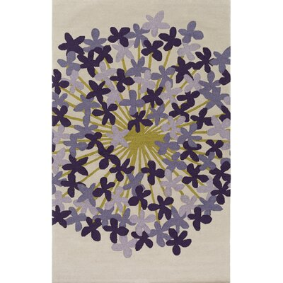Kismet Agapanthus Hand-Tufted Purple/Beige Area Rug Rug Size: Rectangle 2' x 3'