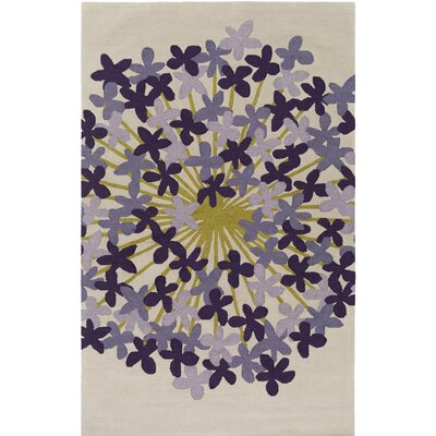 Kismet Agapanthus Hand-Tufted Purple/Beige Area Rug Rug Size: Rectangle 5' x 7'6