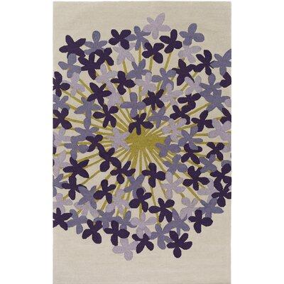 Kismet Agapanthus Hand-Tufted Purple/Beige Area Rug Rug Size: Rectangle 5 x 76