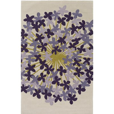 Kismet Agapanthus Hand-Tufted Purple/Beige Area Rug Rug Size: Rectangle 8 x 10