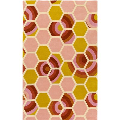 Kismet Honeycomb Hand-Tufted Coral/Yellow Area Rug Rug Size: 5 x 76