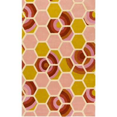 Kismet Honeycomb Hand-Tufted Coral/Yellow Area Rug Rug Size: Rectangle 8 x 10