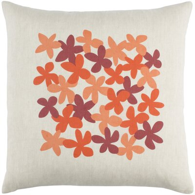 Flying Colors Little Flower Linen Throw Pillow Size: 20 H x 20 W x 5 D, Color: Bright Orange/Peach/Dark Red/Beige