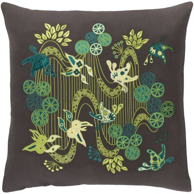 Kismet Chinese River Throw Pillow Color: Cream/Olive/Bright Orange/Aqua/Lime/Black/Butter, Size: 20 H x 20 W x 5 D
