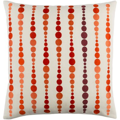 Flying Colors Dewdrop Cotton Throw Pillow Size: 18 H x 18 W x 4 D, Color: Bright Orange/Rust/Cream