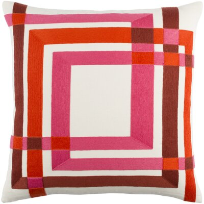 Kismet Color Form Throw Pillow Size: 18 H x 18 W x 4 D, Color: Cream/Bright Pink/Bright Orange/Dark Red