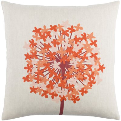 Kismet Agapanthus Linen Throw Pillow Size: 18 H x 18 W x 4 D, Color: Dark Red/Bright Orange/Peach/Beige