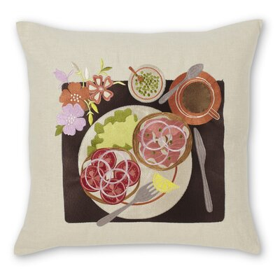 Bagel and Lox Linen Throw Pillow