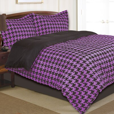 Houndstooth Comforter Set Size: Twin, Color: Purple