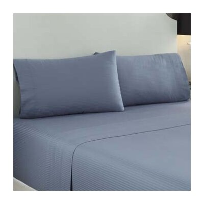 Dobby Stripe 400 Thread Count Sheet Set Size: King, Color: Flinstone Blue