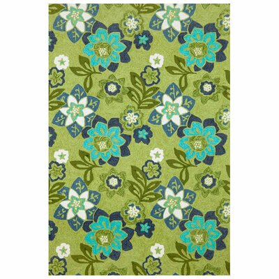 Clarissa Scattered Green Flowers Indoor/Outdoor Area Rug Rug Size: Runner 2 x 8