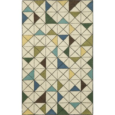 Fantasy Triangles Driftwood Hand Tufted Wool Beige Area Rug Rug Size: Rectangle 9 x 12