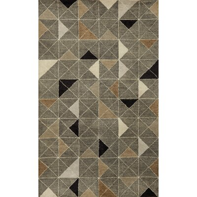 Fantasy Triangles Hand-Tufted Gray Area Rug Rug Size: 9 x 12