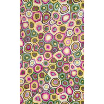 Fantasy Pop Swirl Spring Hand Tufted Wool Pink Area Rug Rug Size: Rectangle 36 x 56