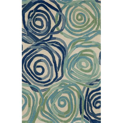 Tivoli Rambling Rose Playa Blue Area Rug Rug Size: 36 x 56