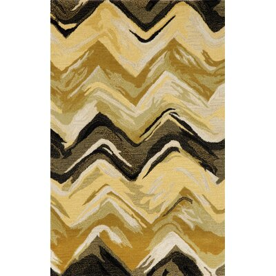 Terrill Chevron Yellow/Grey Area Rug Rug Size: 36 x 56