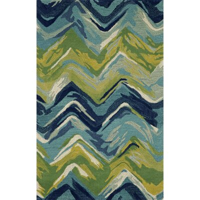 Terrill Chevron Blue/Green Indoor/Outdoor Area Rug Rug Size: 9 x 12