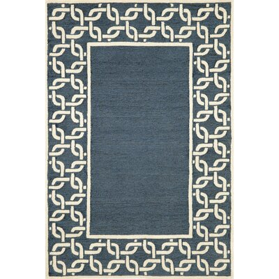 Collingdale Denim Chain Border Blue/Cream Outdoor Area Rug Rug Size: 36 x 56