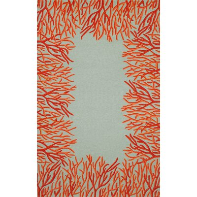 Bluford Orange Coral Border Orange/Blue Outdoor Area Rug Rug Size: 5 x 76