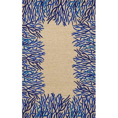Bluford Cobalt Coral Border Blue/Beige Outdoor Area Rug Rug Size: 36 x 56