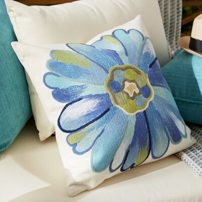 Kara Daisy Outdoor Throw Pillow Size: 20 x 20, Color: Aqua