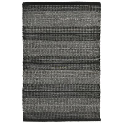 Cambria Hand-Woven Black Indoor/Outdoor Area Rug Rug Size: 36 x 56
