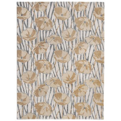 Nouveau Hand-Tufted Beige Area Rug Rug Size: Rectangle 36 x 56