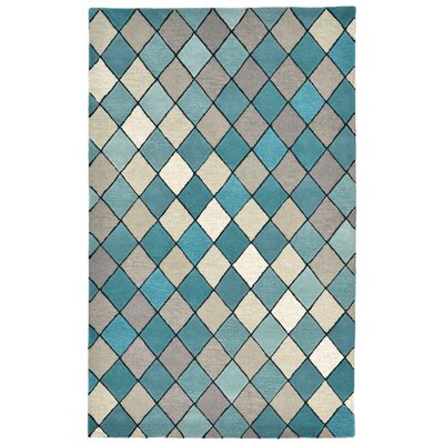 Shelburne Hand-Tufted Blue Area Rug Rug Size: 36 x 56
