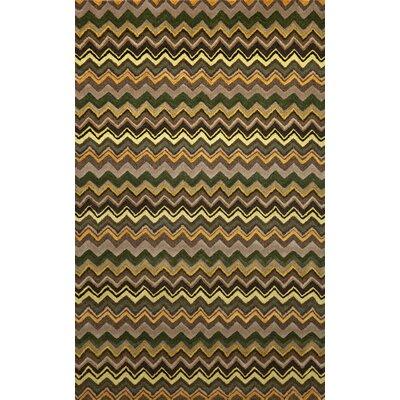 Shelburne Green Zigzag Stripe Rug Rug Size: 3'6