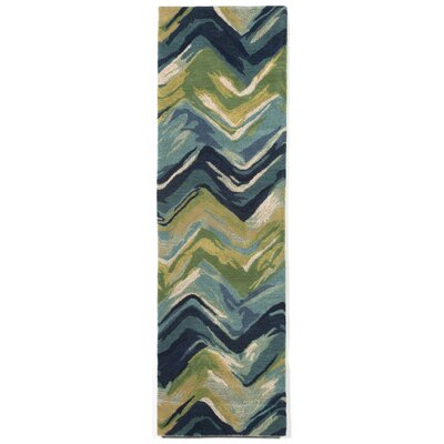 Terrill Chevron Blue/Green Area Rug Rug Size: 36 x 56