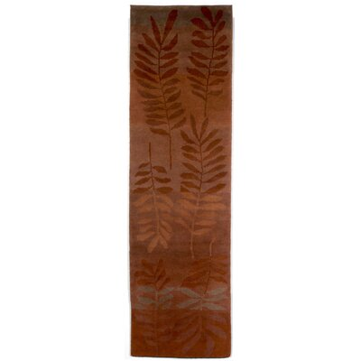 Karela Fern Saffron Hand Knotted Wool Orange Area Rug Rug Size: Runner 22 x 71
