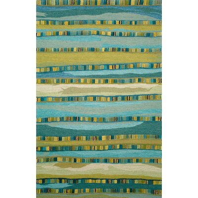 Shelburne Mosaic Blue Stripe Area Rug Rug Size: 36 x 56