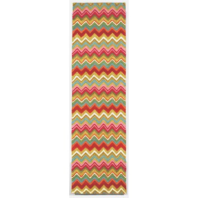 Seville Zigzag Stripe Hand Tufted Wool Red/Green/Pink Area Rug Rug Size: Runner 23 x 8