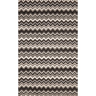 Shelburne Black/White Zigzag Stripe Area Rug Rug Size: 36 x 56