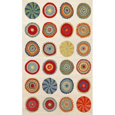Siena Neutral Pop Circles Area Rug Rug Size: 36 x 56