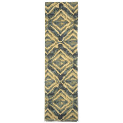 Terrill Hand Tufted Wool Blue/Yellow Area Rug Rug Size: Runner 23 x 8