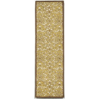 Antigua Yellow Scroll Area Rug Rug Size: Runner 23 x 8