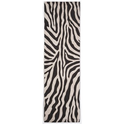 Visions I Black Zebra Indoor/Outdoor AreaRug Rug Size: Runner 23 x 8